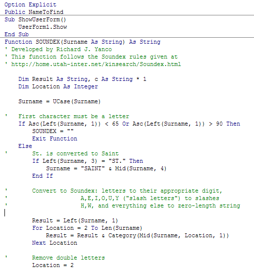 Excerpt of original VBA code