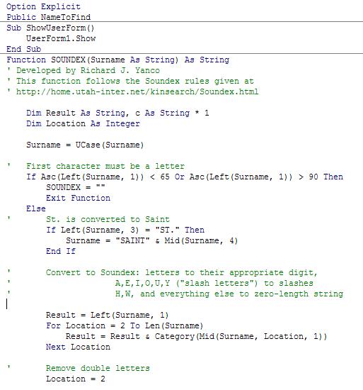 Excerpt of original VBA code