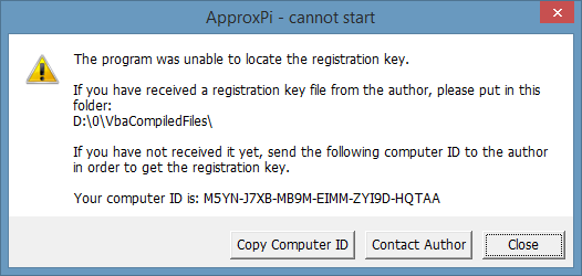 Application cannot start example of Excel VBA copy protection with registration/activation key.