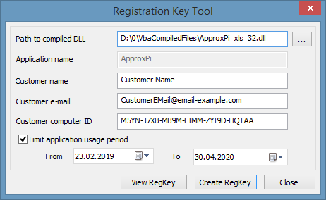 Registration/Activation Key Tool - example of usage