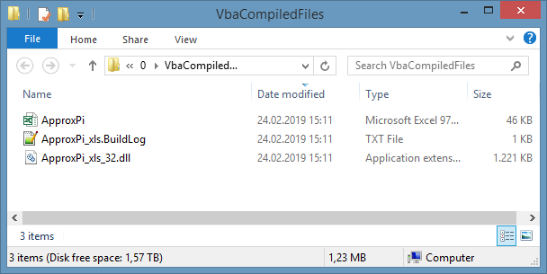 VBA compiled files in target compilation folder
