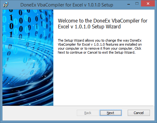 VbaCompiler for Excel Setup Wizard