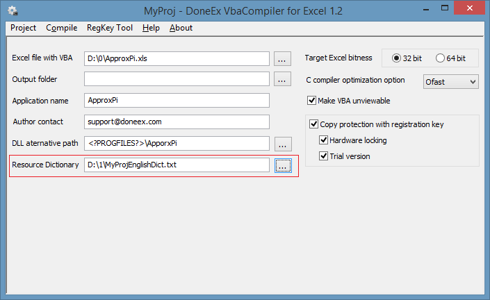 Select resource dictionary on compilation option form