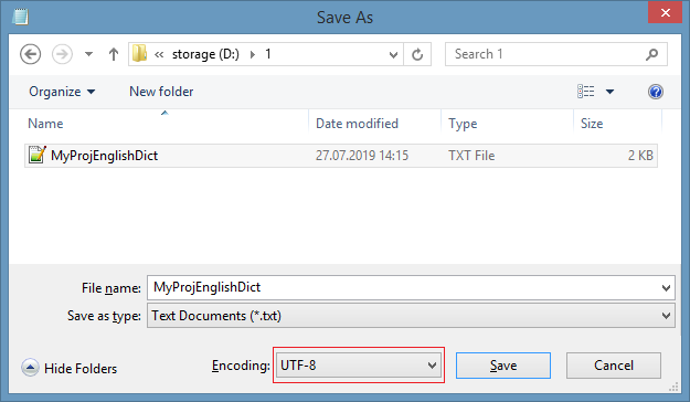 Save resource dictionary encoded as UTF8