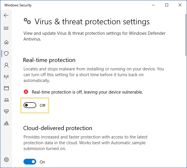 Windows Defender real time protection off