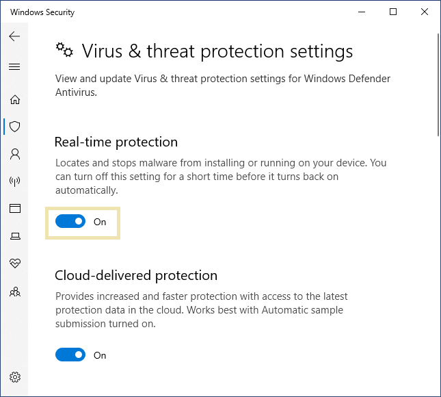 Windows Defender real time protection on