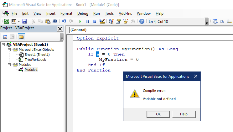 Optimize VBA code tip - Option Explicit directive allows to detect undeclared variables